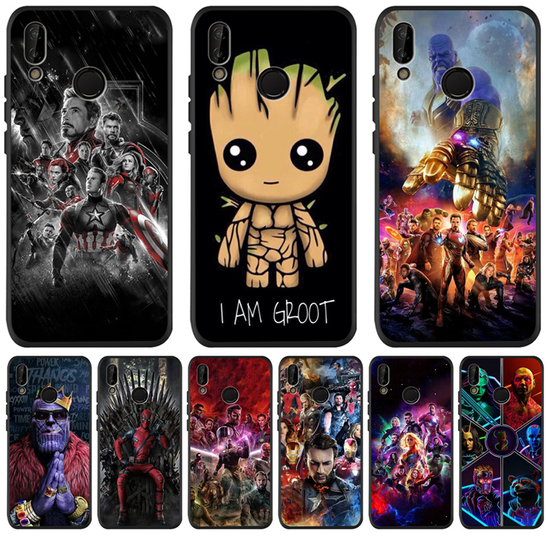 Luxury <font><b>Marvel</b></font> Avengers Groot For <font><b>Huawei</b></font> P8 <font><b>P10</b></font> P20 P30 Mate 10 20 Honor 8 8X 8C 9 10 <font><b>Lite</b></font> Plus Pro Case <font><b>Cover</b></font> Coque Etui Funda image