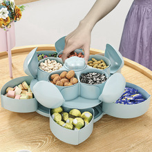 Petal-Shape Rotating Candy Box Snack Nut Box Flower Candy Fruit Plate Food Storage Case Two-deck Dried Fruit Storage Organizer