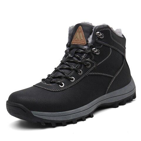 Winter Men Shoes Outdoor Snow Boots Men Warm Plush Cotton Shoes Fur Safety Shoes Combat Military Boots Flat Ankle Botas Hombre Karachi