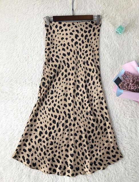 Women Silk Satin The Naomi Wild Things Leopard Print Sexy Elastic High Waist Easy 90's Slip Midi Skirt 2