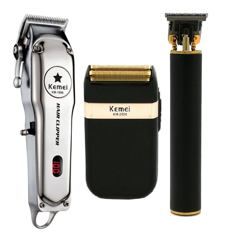 Kemei All Metal Professional Electric Hair Clipper Rechargeable Hair Trimmer Haircut Shaving Machine Kit KM-1996 KM-2024 KM-1971