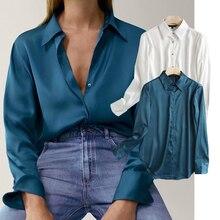 ZA 2020 Новая мода Женские атласные текстуры шифоновая рубашка однобортная блузка шифоновая рубашка с длинным рукавом шифоновая рубашка повс...
