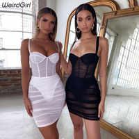 Weirdgirl mulheres ver através de malha sexy vestidos sem alças sem mangas bodycon vestido moda elegante bainha clube festa novo outono