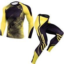 Спортивный костюм из 2 предметов, Мужская компрессионная футболка с длинным рукавом, комплект с принтом, толстовка+ леггинсы, термобелье для фитнеса, 9,2