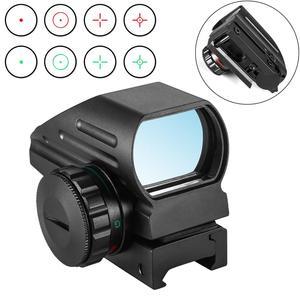 Réflex holográfico, láser rojo y verde, mira telescópica proyectada de 4 retículas, mira telescópica de caza de 11mm/20mm, montaje de riel AK