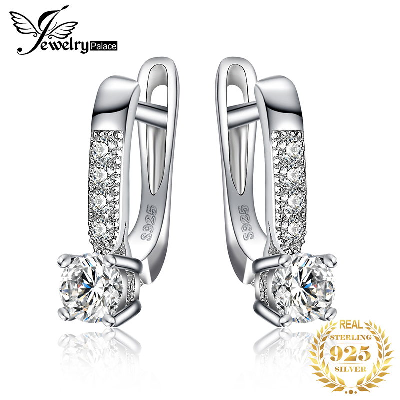JewelryPalace Cubic Zirconia Hoop Earrings 925 Sterling Silver Earrings For Women Girls Korean Earrings Fashion Jewelry 2019