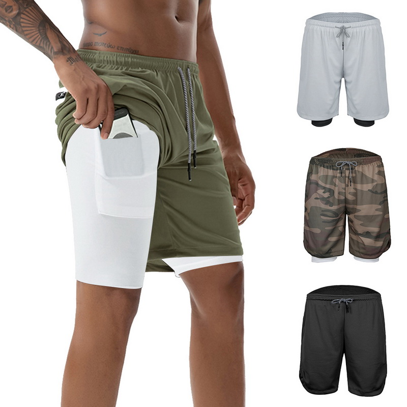 Brand Gym Print Shorts Men 2 In 1 Running Fitness Drawstring Shorts Security Pockets Shorts  Quick Drying Sportswear