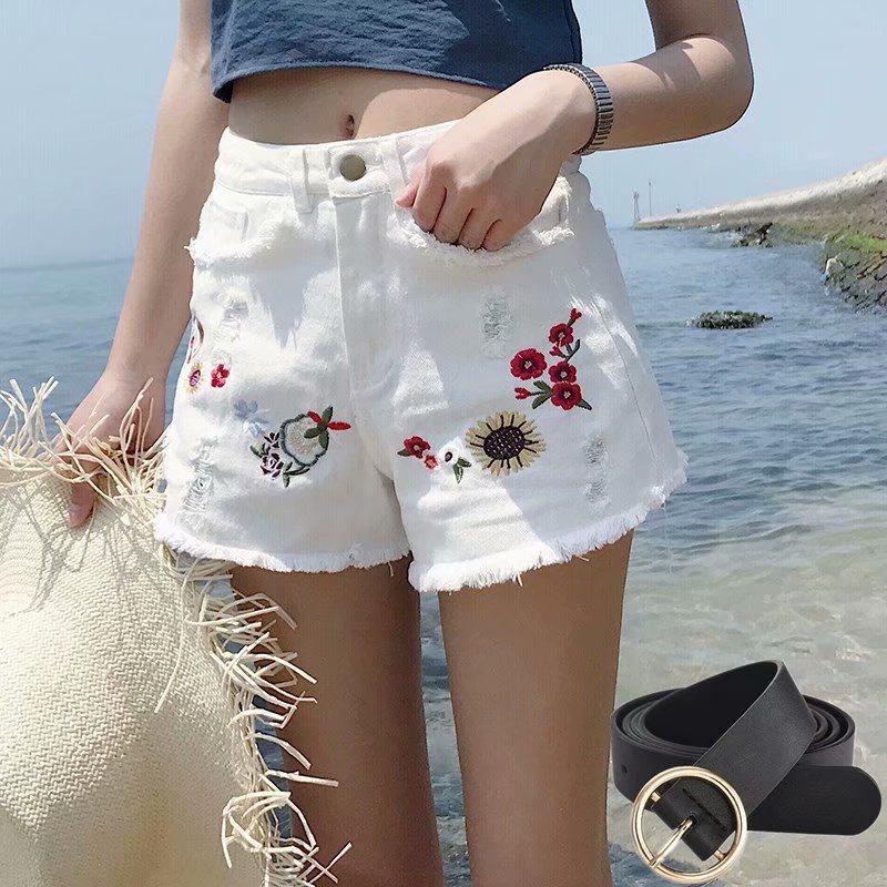 Womens New Arrival Casual Summer Hot Sale Denim Flower Embroidered Shorts Holes Ripped High Waist Plus Size Sexy Short Jeans