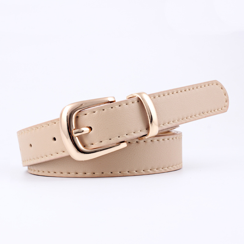 2020 New Ladies Black White Yellow Camel Thin Skinny Leather Waist Belt Silver Pin Buckle Belts For Women Jeans