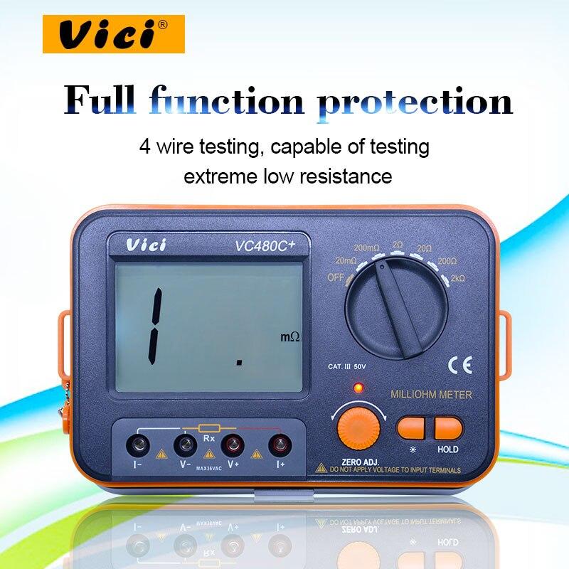 VICI VC480C + numérique Milliohm mètre 2k ohm testeur de résistance multimetro avec 4 fils test LCD rétro-éclairage
