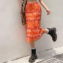 Letnie spódnice damskie Boho Beach spódnice na co dzień kobiece wysokiej talii kwiatowy druk pomarańczowy spódnica trzy czwarte Party Holiday odzież