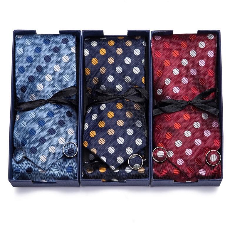 Men Handkerchief Cuffink Ties Set 7.5cm Necktie Blue Green 100% Silk Jacquard Woven Neck Tie Suit Wedding Party Gift Box Packing