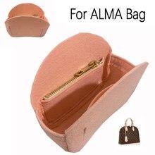 Para alma saco de concha bolsa inserção organizador maquiagem bolsa de viagem interior bolsa de cosméticos-feltro premium (artesanal/20 cores)