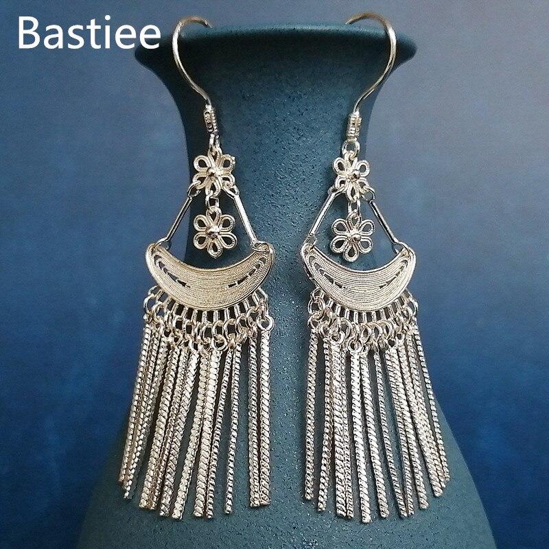 여성을위한 Bastiee 999 스털링 실버 민족 긴 Tassels 귀걸이 중국 빈티지 수제 럭셔리 쥬얼리 몽족 미아오 보헤미안