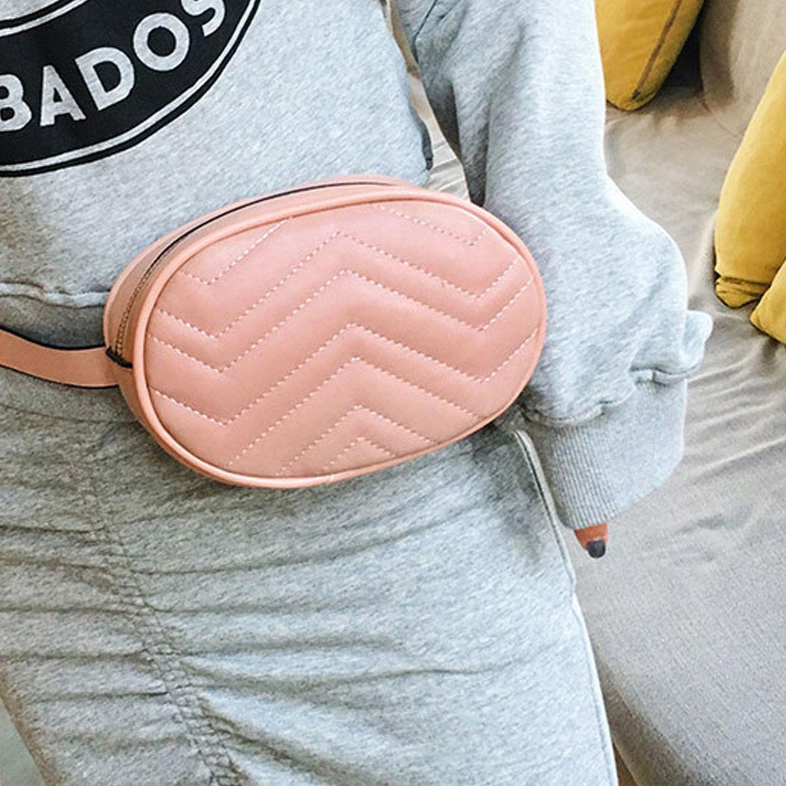 Fashion Women waist bag Pure Color Leather Messenger belt bags Chest Bag Crossbody Flap Versatile Chest Handbag Round Belt Bag in Waist Packs from Luggage Bags