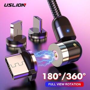 USLION Magnetic USB Cable Fast Charging Type C Cable Magnet Charger Micro USB Cable Mobile Phone USB Cord New 360º+180º Rotation