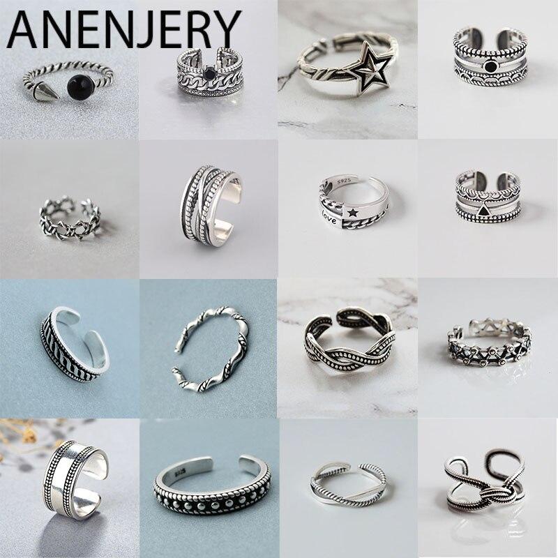 ANENJERY 925 Sterling Silber Handgemachte Ringe Für Männer Frauen Größe 18mm Einstellbar Thai Silber Finger Ringe Persönlichkeit S-R445