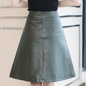 Image 3 - 2020 printemps femmes Midi jupe mode noir vert grande taille 4XL tenue de bureau taille haute a ligne Faux cuir jupe hiver