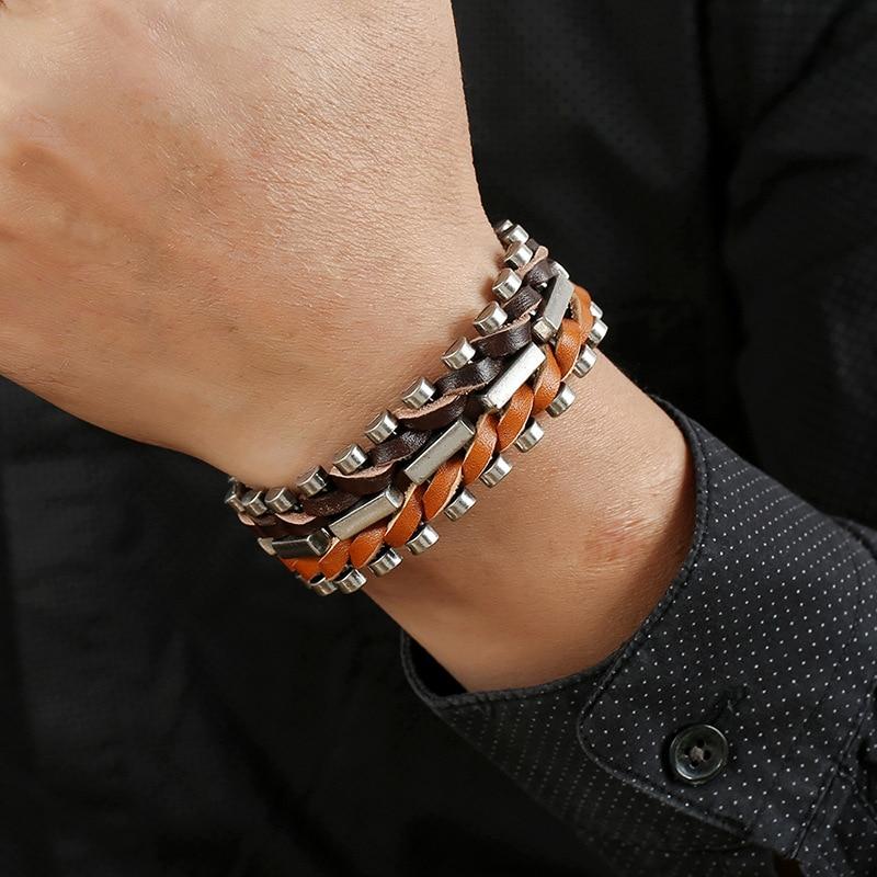 Trendy Male Jewelry Hand-knitted Braid Genuine Leather Bracelet Men Punk Metal Charms Bracelets&Bangles