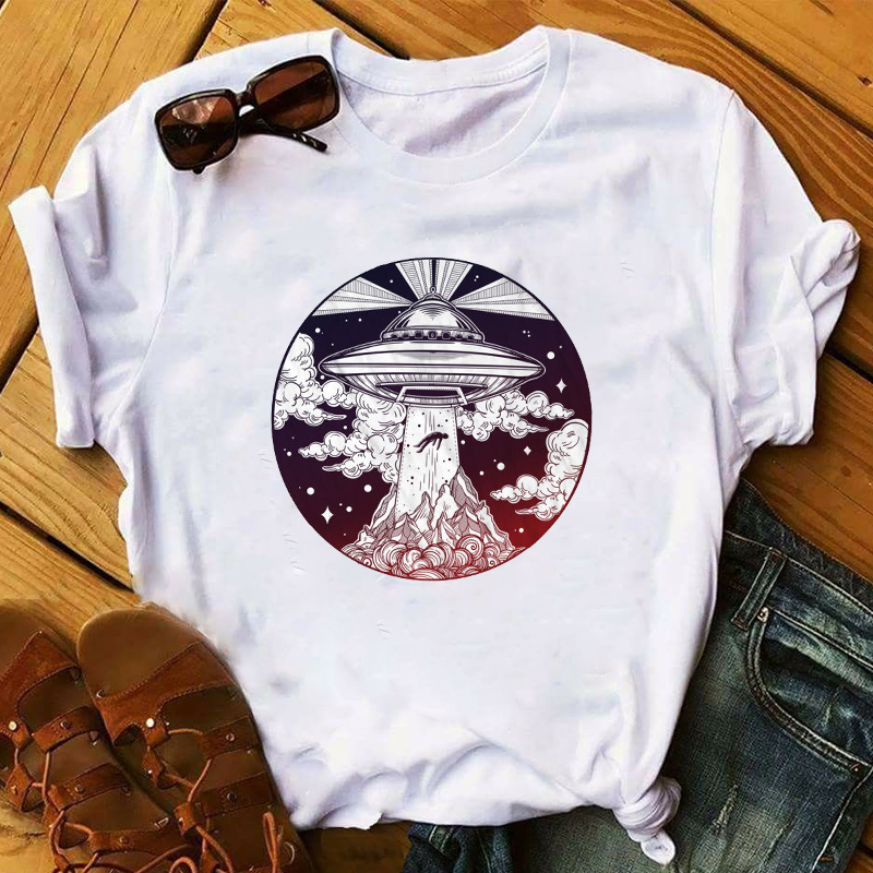Women 2020 UFO Alien Cute Cartoon Casual Fashion Clothing Lady Womens Top T Shirt T-shirts Ladies Graphic Female Tee T-Shirt
