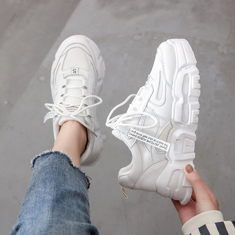 2020 Women Chunky Sneakers Korean Fashion White Pink Lace Up Platform Vulcanized Shoes Female Walking Comfortable Trainers Shoes