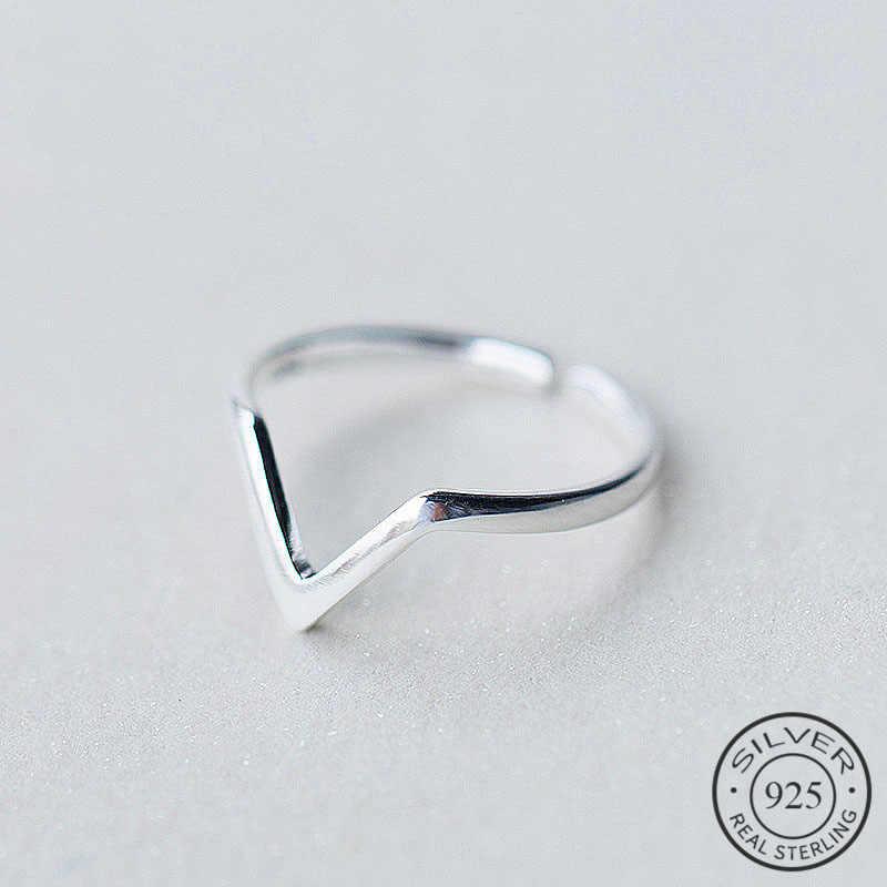 Gerçek 925 ayar gümüş geometrik dalga harf V ayarlanabilir yüzük güzel takı kadınlar için parti kişilik aksesuarları