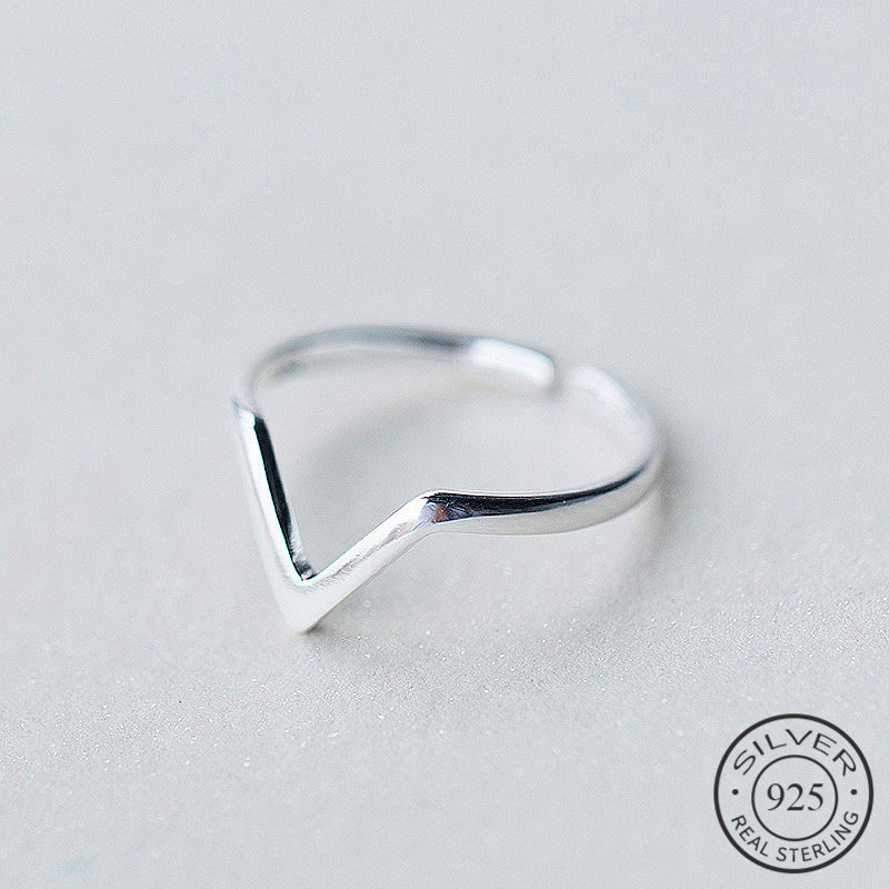Real 925 Sterling Silver Geometric Wave Letter V Adjustable Ring Fine Jewelry For Women Party Personality Accessories(China)