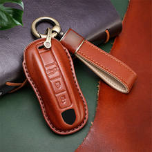 Genuine Leather Key Fob Remote Cover Case For Porsche Cayenne18+ Panamera 17+