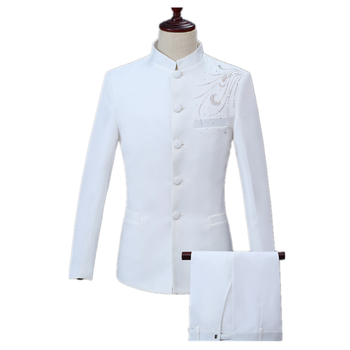 Inlay Diamond White Chinese tunic suit Wedding Party Banquet 2 Piece Set Men's Slim Casual Chinese Suit Set (Jacket+Pant)