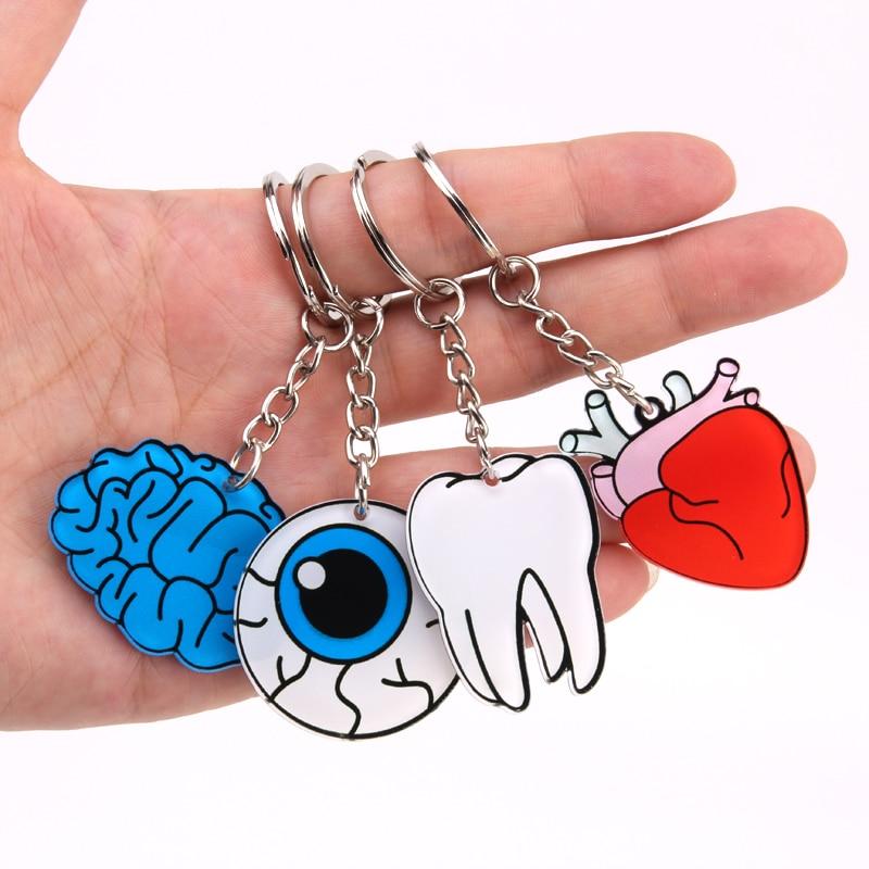 Hot New Organ Heart Keychain Brain Eyes Tooth Key Chain Women And Men Cute Anime Cartoon Kids Key Ring Gift Porte Clef
