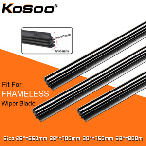 "KOSOO 2PCS Vehicle Windshield Insert Natural Rubber Car Wiper Blade Strip (Refill) 6mm 26""28""30""32"" Frameless Wiper Accessories(China)"