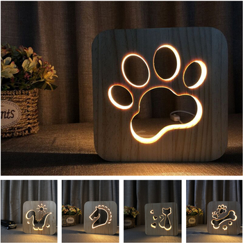 LED Creative USB Night Light Wooden Dog Paw Christmas Tree Decor Table Lamp For Kids Bedroom Bedside Gift Study Holiday Lighting hot sale wrought iron flamingo star tree wooden base night light creative led dream night table lamp bedroom gifts for girls
