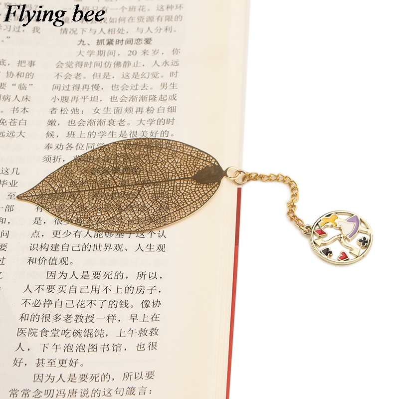 20pcs/lot Flyingbee Leave Pendant Cute Cartoon Metal Bookmarks Cool Book Markers Page Holder For Books Stationery Gifts X0779