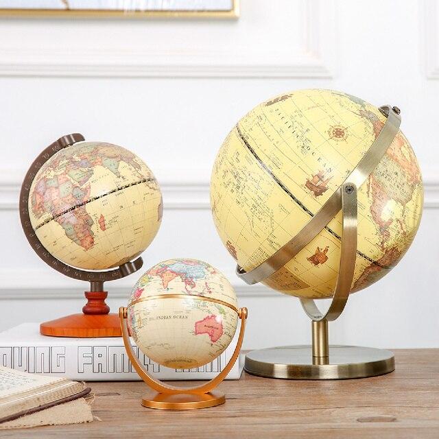 1PC Rotante Vintage Mondo Globo Con Supporto Della Terra Ocean Mappa Sfera Desktop Da Ufficio Antico Complementi Arredo Casa Geografia Modello Educativo