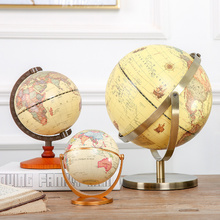 1PCหมุนVintage World Globeพร้อมขาตั้งEarthแผนที่Ballสำนักงานโบราณตกแต่งบ้านภูมิศาสตร์การศึกษาชุด