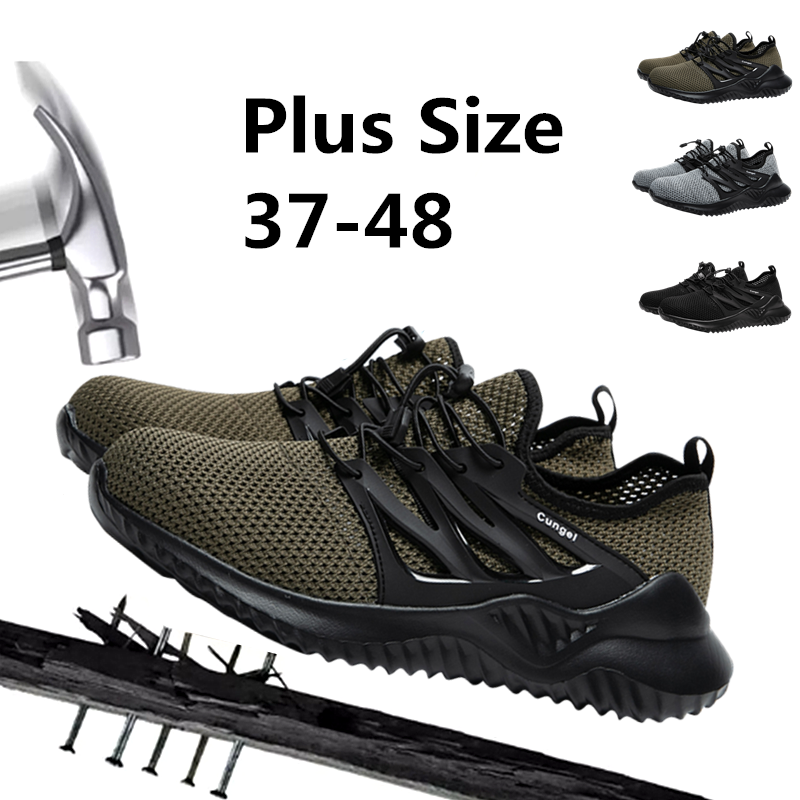 JINTOHO Men's Steel Toe Safety Shoes Casual Breathable Outdoor Sports Shoes Piercing Boots Comfortable Industrial Shoes
