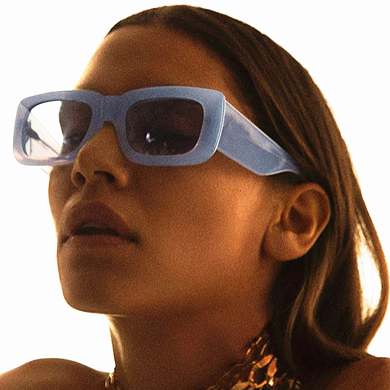Retro Wide Leg Square Blue Black Sunglasses For Women Luxury Brand Gradient Sun Glasses Men Hip Hop Uv400 Eyewear Female Sahdes