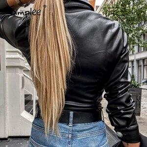 Image 4 - Simplee בציר ארוך שרוול נשים חולצה חולצה מזדמן תורו למטה צווארון שחור חולצה חולצה משרד ליידי כפתור עור מפוצל חולצה