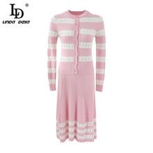 LD LINDA DELLA Autumn Winter Fashion Runway Women's Knitting Suits Stripe Tops And Casual Pink Midi Skirt Two Pieces Set 2019 иван божерянов великая книягиня екатерина павловна четвертая дочь императора павла i