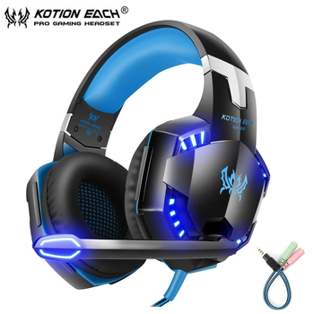 Kotion Each G2000 G9000 Stereo Computer Gaming  Headset Deep Bass Luminous Headphone with Microphone LED Light For PS4 PC Gamer kotion each g1200 gaming headset 3 5mm game headphone headband gaming headphone with mic stereo bass for pc laptop mobile phones
