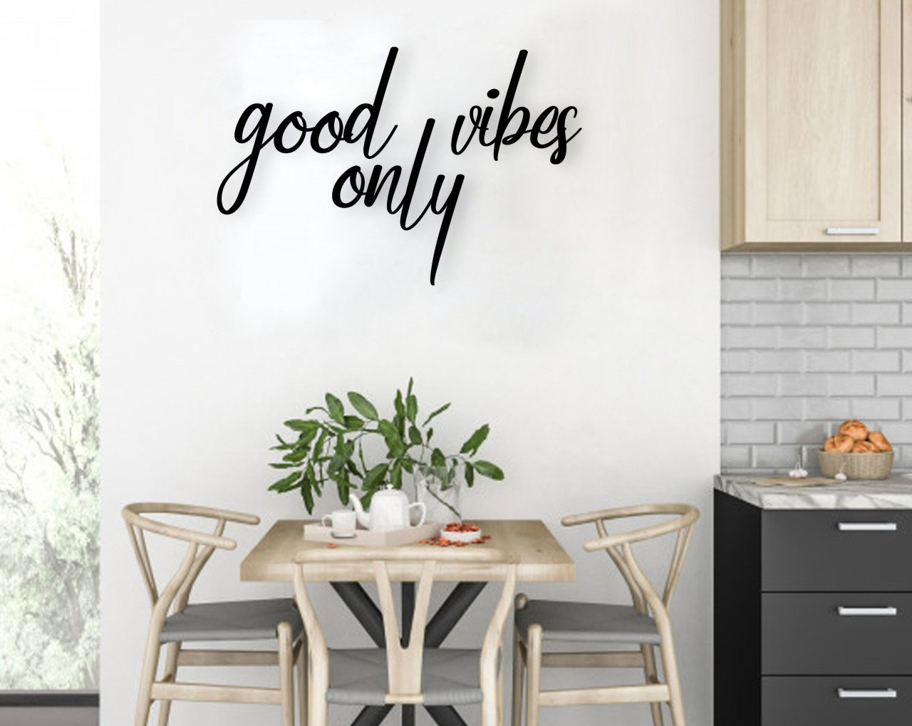 BK Home Good Vibes Only Wood Wall Post Modern Convenient Reliable Decoration Gift Quality Design Simple Cool Black Color
