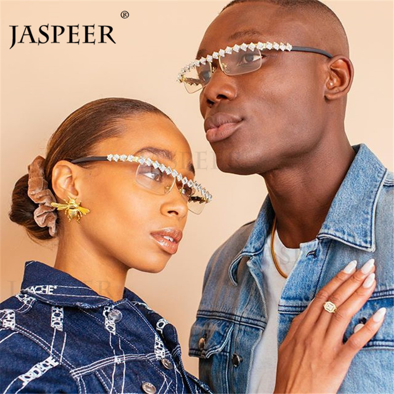JASPEER Diamond Eyeglasses Frames for Women Men Rhinestone Spectacle Eyewear Frames Square Rimless Frame Rectangle Sunglasses image