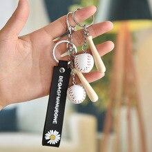 Newest Mini Baseball Glove Wooden Bat Keychains Sports Car Key Chain For Man Women Bag Gift Keyring Best Gift For Your Boyfriend цена 2017