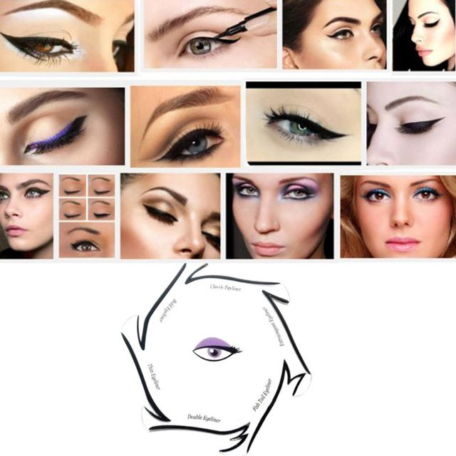 6 In 1 Eyeliner Drawing Template Cards Fashion Cosmetic Tool Kits Smokey Cat Eyes Makeup Accessory Beginner Use D5BF 5