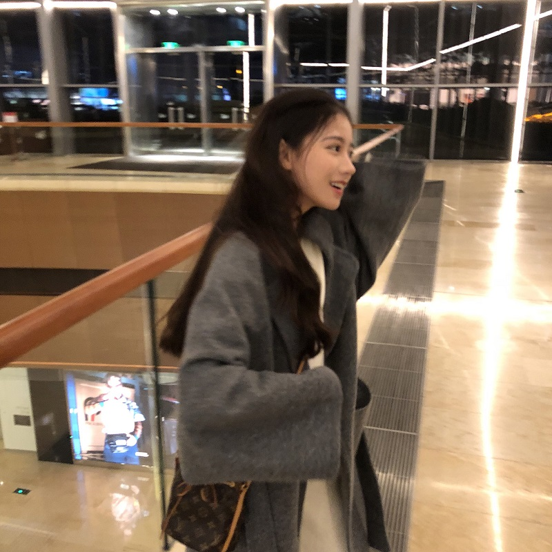 Coreano Chic E lungo Misto Lana Cappotto Delle Donne di Modo Del Manicotto Del Blocco Del Turn Imbottiture Collare Side Split Inverno Cappotto Di Lana - 5
