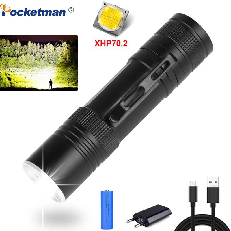 80000LM LED Flashlight XHP70.2 Powerful Torch USB Rechargeable LED Torch XHP70 XHP50 Flashlight Zoom Flashlight 18650 Battery