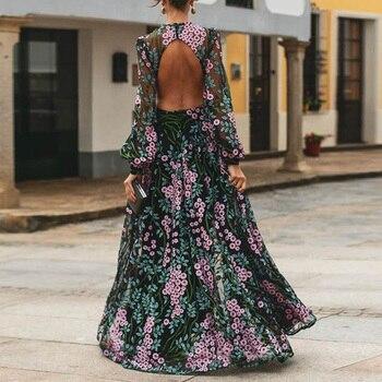 2020 Vintage Long Sleeve Backless Long Maxi Dress Women Floral Print Open Back Summer Beach Dress Robe Femme aztec print plunge backless shift dress