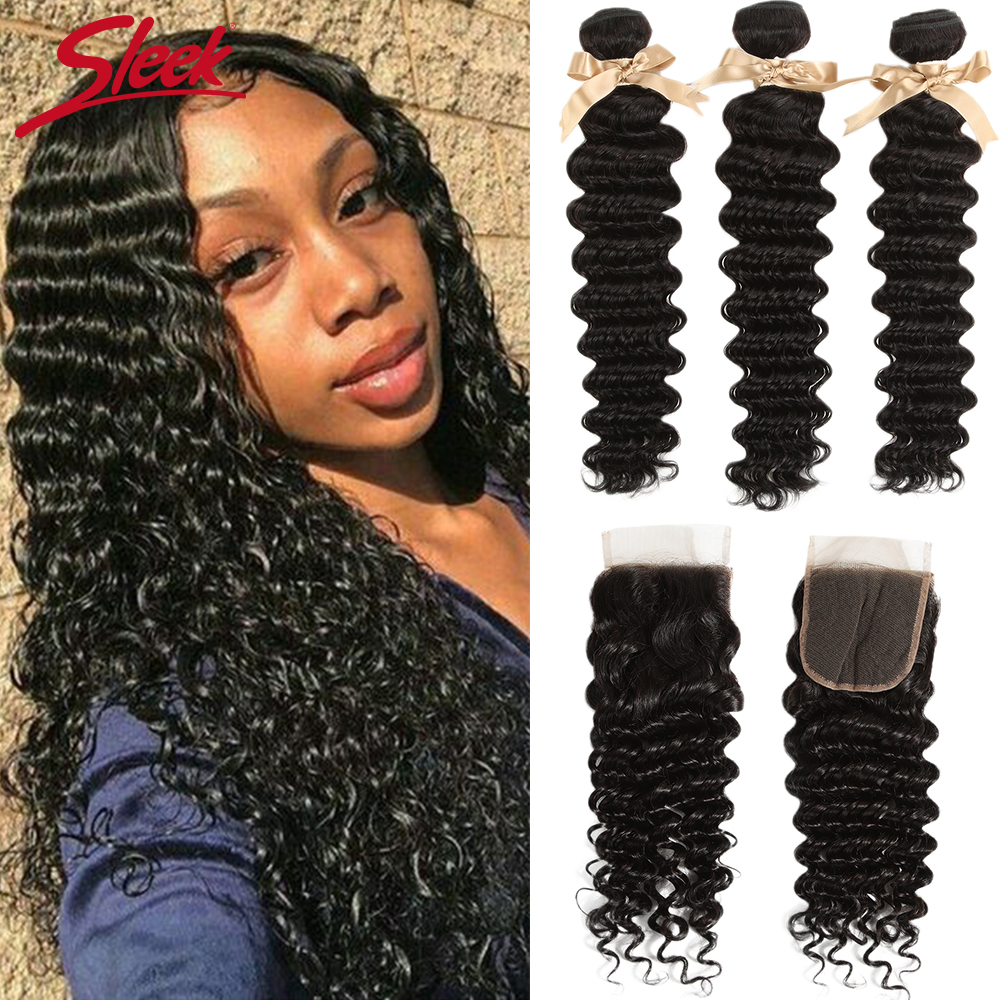 Sleek Deep Wave Bundles With Closure 100% Brazilian Hair Weave Bundles 28 Inch Curly Hair Bundles With Closure 3 Bundles Hair