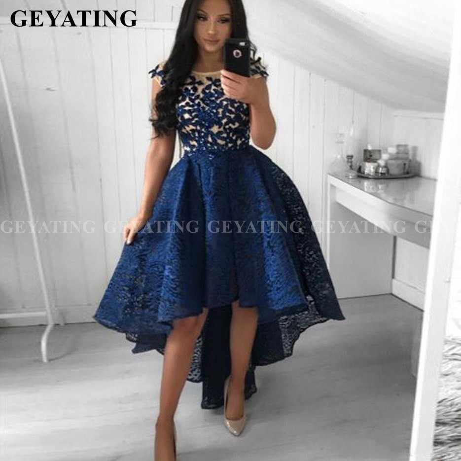 Navy Blue Lace Short Prom Dresses High