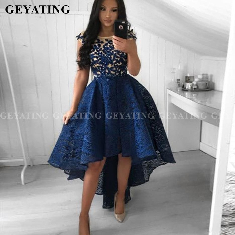 Navy Blue Lace Short Prom Dresses High Low Graduation Gowns Knee Length Semi Formal Gala Dress A-line Evening Party Gown 2020
